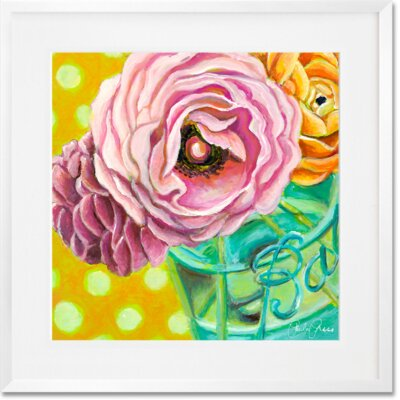 'Ball Jar Ranunculus' Framed Acrylic Painting Print Format: White Framed, Size: 14