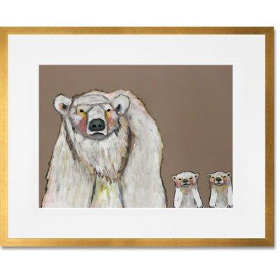'Polar Bear Cubs' Framed Acrylic Painting Print Format: Gold Frame, Size: 13