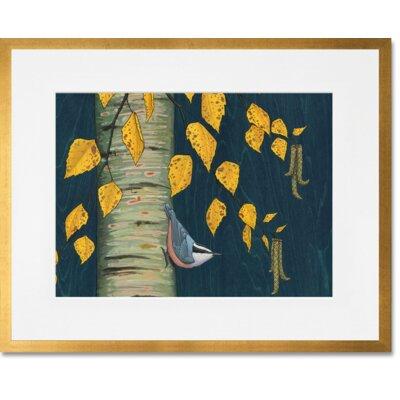 'Nuthatch Under Birch Leaves' Framed Paper Art Print Frame Color: Gold, Size: 13