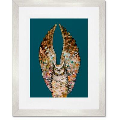 'Owl Ballet - Dark' Framed Print Frame Color: White, Size: 15