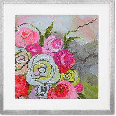 'Spring Floral II' Framed Print Frame Color: Silver, Size: 14