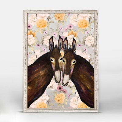 'Donkey Duo - Floral' Framed Acrylic Painting Print