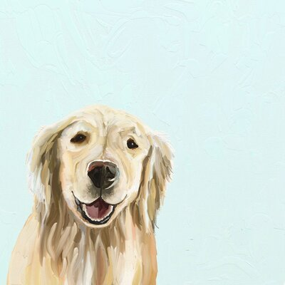 'Best Friend Blonde Retriever' Acrylic Painting Print Size: 10