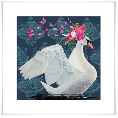 'Blue Swan' Acrylic Painting Print Size: 11.5