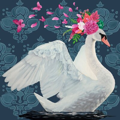 'Blue Swan' Acrylic Painting Print Size: 10
