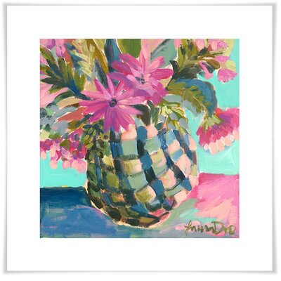 'Floral Pineapple' Acrylic Painting Print Size: 11.5