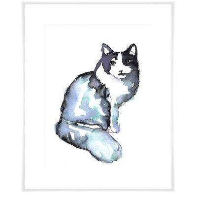 'Indigo Cat Posing' Acrylic Painting Print Size: 12.5