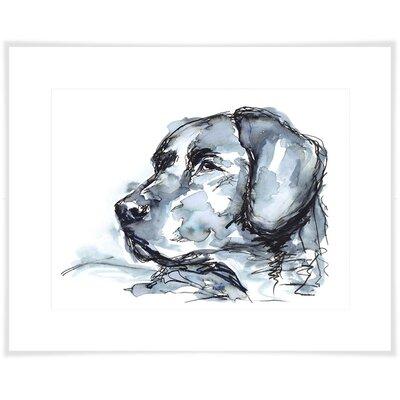 'Indigo Labrador' Acrylic Painting Print Size: 10.5