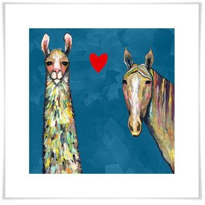 'Llama Loves Horse Blue' Acrylic Painting Print Size: 11.5