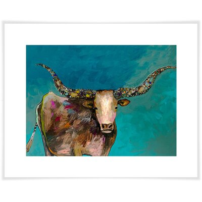 'Longhorn Geode with Tail' Acrylic Painting Print Size: 10.5