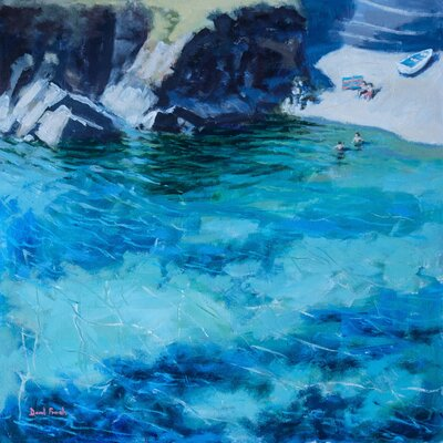 'Deep Blue Water' Acrylic Painting Print Size: 10