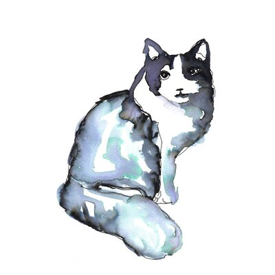 'Indigo Cat Posing' Acrylic Painting Print Size: 14