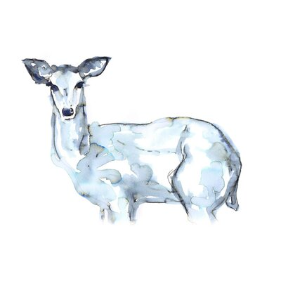'Indigo Deer' Acrylic Painting Print Size: 10