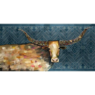 'Longhorn Geode - Tribal Blue' Acrylic Painting Print Size: 12