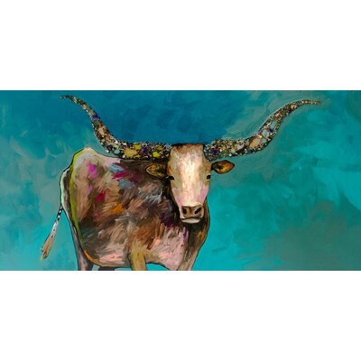 'Longhorn Geode with Tail' Acrylic Painting Print Size: 12