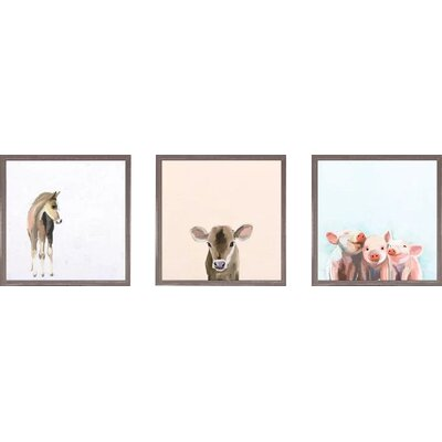 'Sweet Animals 3 Piece Framed Painting Print on Canvas Set Animal Theme: Farm LFMF3232 45485219