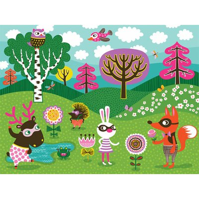 "Funky Woodland Creatures Canvas Art Size: 18"" H x 24"" W x 1.5"" D NB14273"
