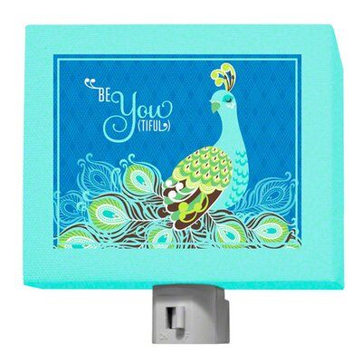 Be-You-Tiful Peacock Night Light Color: Blue
