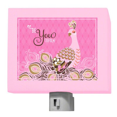 Be-You-Tiful Peacock Night Light Color: Pink