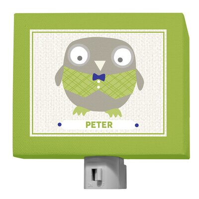 Happy Owl by Vicky Barone Personalized Night Light Color: Green/Navy