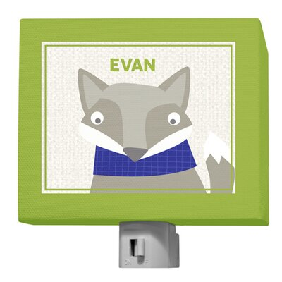 Happy Fox by Vicky Barone Personalized Night Light Color: Green/Navy