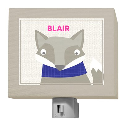 Happy Fox by Vicky Barone Personalized Night Light Color: Pink/Navy