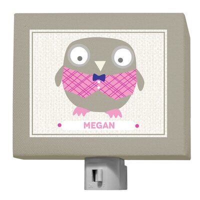 Happy Owl by Vicky Barone Personalized Night Light Color: Pink/Navy