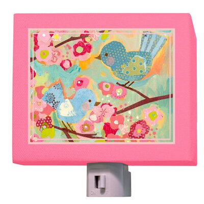 Cherry Blossom Birdies Night Light Color: Aqua/Pink