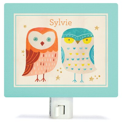 Two Wise Owls - Red/Blue Night Light