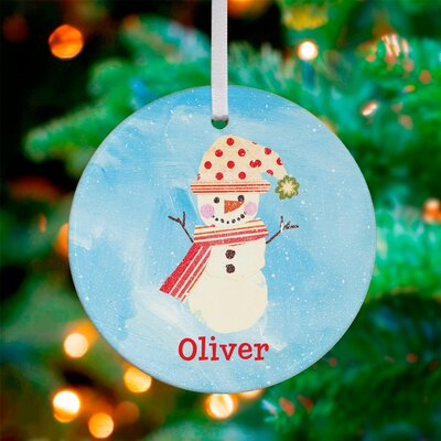 Polka Dot and Stripes Snowman Personalized Ornament by Winborg Sisters