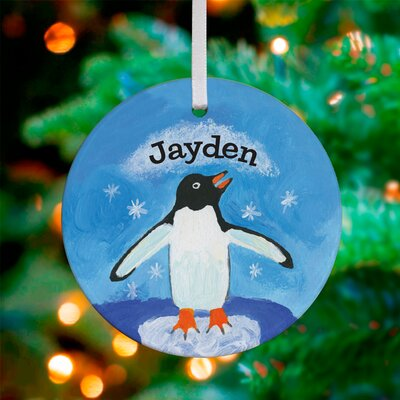 Snowflake Penguin Personalized Ornament by Donna Ingemanson