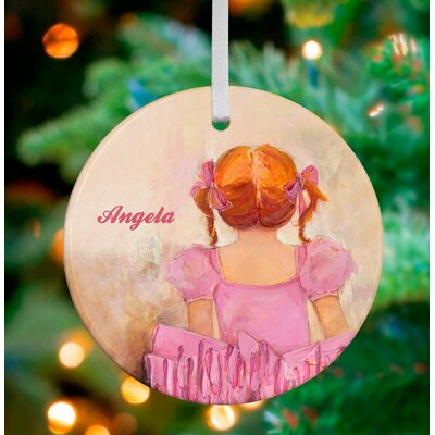 Angelic Ballerina Red Hair Personalized Ornament by Kristina Bass Bailey