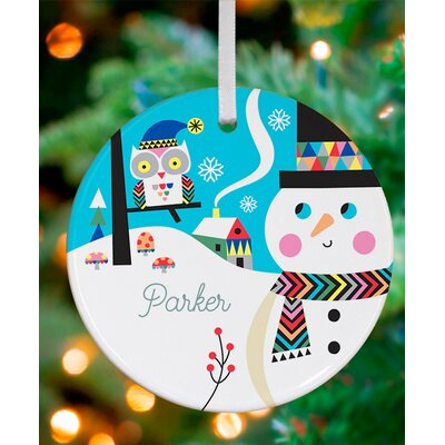 Bright Patterned Snowman and Owl Personalized Ornament by Amy Blay