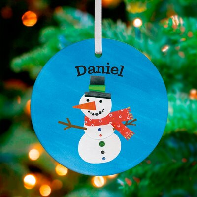 Cheerful Snowman Personalized Ornament by Jill McDonald