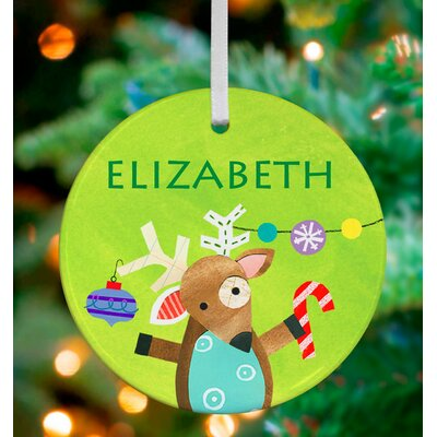 Christmas Time Reindeer Of Cheer Personalized Ornament by Jill McDonald