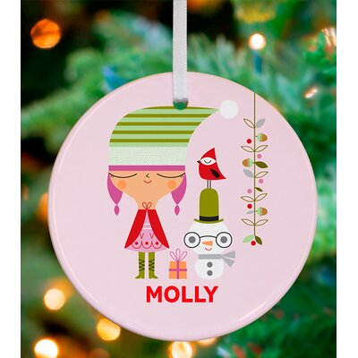 Holiday Girl and Snowman Personalized Ornament by Suzy Ultman