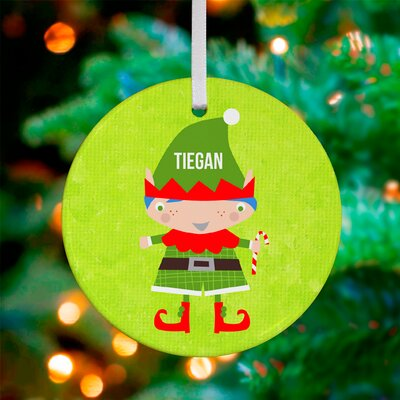 Little Boy Elf Personalized Ornament by Vicky Barone