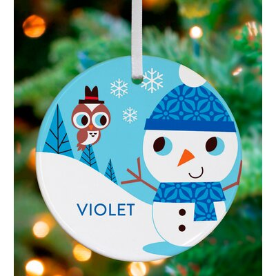 Snowman and Owl Friend Personalized Ornament by Amy Blay