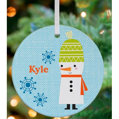 Snowman and Snowflakes Personalized Ornament by Suzy Ultman