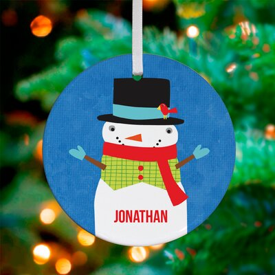 Snowy Snowman Personalized Ornament by Vicky Barone