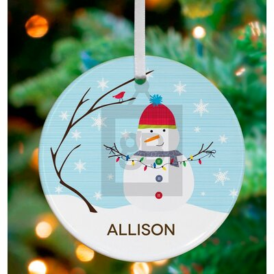 Winter Scene Snowman Personalized Ornament by Stacy Amoo Mensah