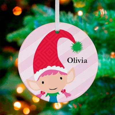 Modern Elf Girl Personalized Ornament by Stacy Amoo Mensah