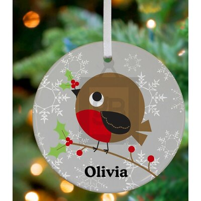 Holly Berry Bird Personalized Ornament by Jillian Phillips