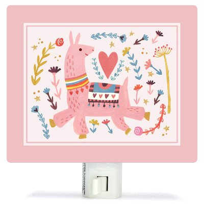 Pink Llama by Irene Chan Canvas Night Light