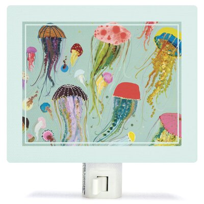 Floating Jellyfish Aqua by Eli Halpin Canvas Night Light