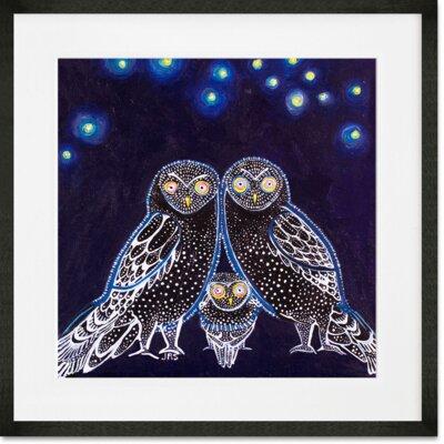 'Owls At Night' Framed Graphic Art Print Format: Black Frame, Size: 14