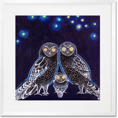 'Owls At Night' Framed Graphic Art Print Format: White Frame, Size: 14