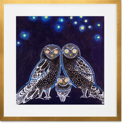 'Owls At Night' Framed Graphic Art Print Format: Gold Frame, Size: 14