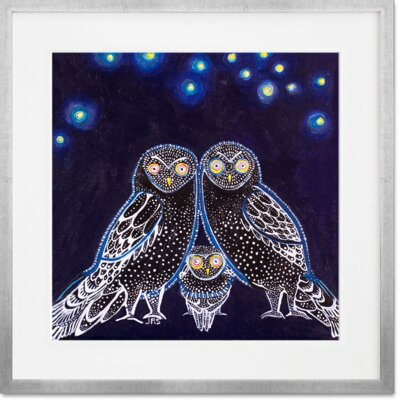 'Owls At Night' Framed Graphic Art Print Format: Silver Frame, Size: 14