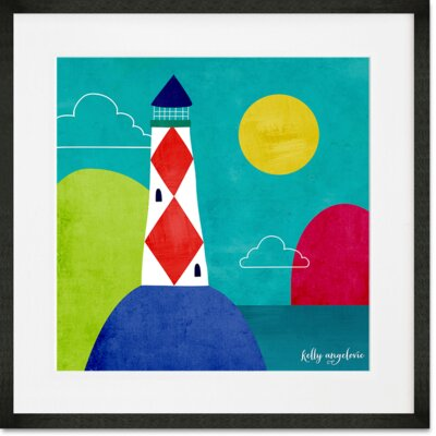 'The Magical Sea - Lone Lighthouse' Framed Graphic Art Print Format: Black Frame, Size: 14